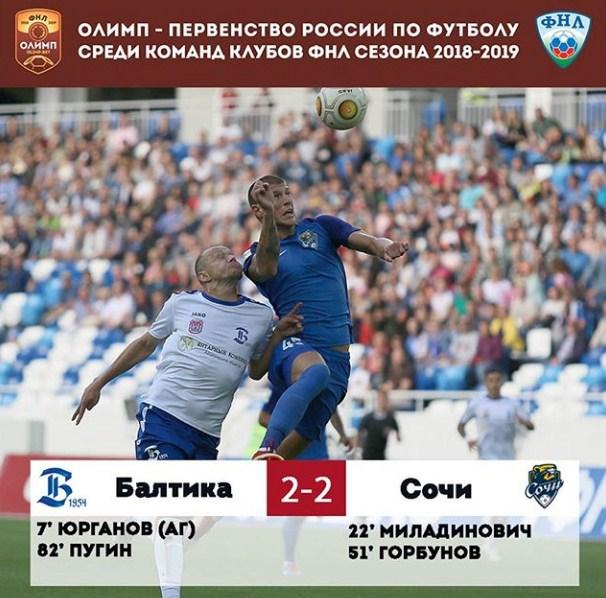 ФНЛ 6-й тур. ФК Балтика - ФК Сочи  2:2